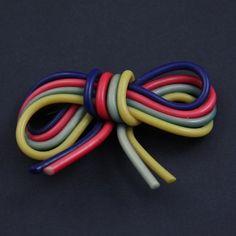 40s Spaghetti Strand Plastic Candy Color BOW Pin