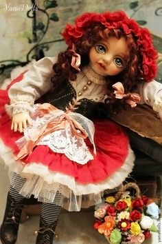 Красная шапочка - ярко-красный,кукла,красная шапочка,Будуарная кукла,интерьерная кукла