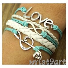 Love, Infinity & Music Note Braid Rope Bracelet ❤ liked on Polyvore featuring jewelry, bracelets, rope bracelet, infinity bangle, cord bracelet, infinity rope bracelet and woven cord bracelet