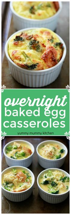 Breakfast casseroles. Overnight mini baked egg casseroles with broccoli. This vegetarian breakfast casserole recipe is perfect for the holidays.