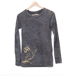 steel gray and metallic gold - om and cherry blossom - long sleeve - burnout - yoga shirt on Etsy, $42.00