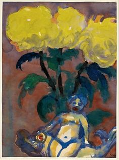 Emil Nolde (German, 1867-1956): Gelbe Dahlien und Figur (Yellow Dahlias and Figurine), c. 1930.  Galerie Herold, Hamburg, Germany. Watercolor, 18 9/10 x 13 4/5 inches (48 x 35 cm). © Emil Nolde. This artwork or photograph is posted in accordance with fair use principles.  #IRequireArt @irequireart #art #german #expressionism #galerieherold #emilnolde  IRequireArt.com