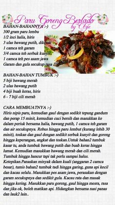 Paru goreng berlada Rice Recipes, Cooking Recipes, Easy Recipes, Malay Food, Malaysian Food, Indonesian Food, Savoury Dishes, Recipe Cards, Food And Drink