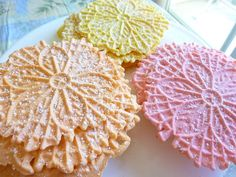 Made Strawberry, Lemon amd Orange Pizzelles for my son who is on vacation