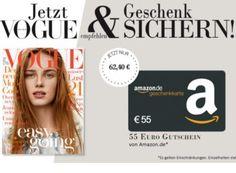 """Vogue: Jahresabo dank Amazon-Gutschein für 7,40 Euro frei Haus https://www.discountfan.de/artikel/lesen_und_probe-abos/vogue-jahresabo-dank-amazon-gutschein-fuer-7-40-euro-frei-haus.php Zwölf Ausgaben der Zeitschrif """"Vogue"""" gibt es noch für kurze Zeit zum Schnäppchenpreis von 7,40 Euro – macht pro Heft und Lieferung gerade einmal 62 Cent. Vogue: Jahresabo dank Amazon-Gutschein für 7,40 Euro frei Haus (Bild: Verlag) Das Jahresabo der """"Vogue&#8220"""