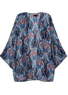Blue Vintage Tribal Print Loose Kimono 19.91