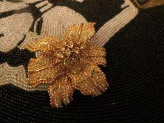 VINTAGE ESTATE Jewelry CINER PAVE RHINESTONE ORCHID FLOWER BROOCH