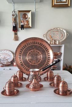 Turkish Coffee Set, Arabic Coffee, Coffee Cup Set, Copper Accessories, Copper Tray, Copper Gifts, Spice Tins, Handmade Products, Cupping Set