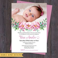 Christening invitation Baptism invitation naming invitation girl photo and pretty pink watercolour florals digital customised printable Christening Invitations Girl, Baptism Invitations Girl, Baby Girl Christening, Personalized Invitations, Baby Dedication Invitation, Naming Ceremony Invitation, Invitation Cards, Distintivos Baby Shower, Baby Girl Cards