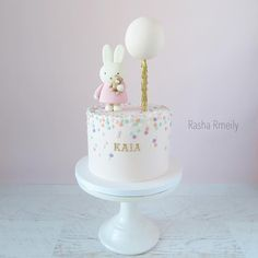 "Bunny, balloon ""Got my fair share of Miffy in 2016 "" Bolo Miffy, Miffy Cake, 1st Birthday Cake For Girls, Baby Birthday Cakes, Birthday Parties, 1 Year Old Birthday Cake, Tortas Baby Shower Niña, Polka Dot Cakes, Polka Dots"