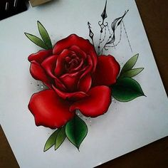 Id really like to tattoo this, get in touch if youd like it :D A deposit reserve. Rose Drawing Tattoo, Tattoo Sketches, Tattoo Drawings, Tattoo Art, Skull Rose Tattoos, Blue Rose Tattoos, Flower Tattoo Designs, Flower Tattoos, Neo Traditional Roses