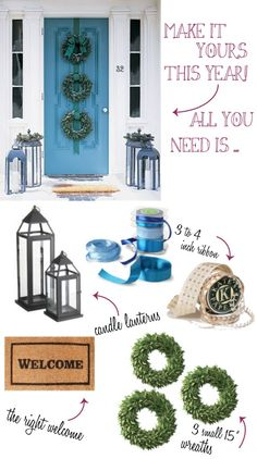 Great Wreath Idea for the Door--- mom house for Christmas! Keep in mind ; Christmas Front Doors, Christmas Porch, Christmas Time Is Here, Winter Christmas, Christmas Wreaths, Christmas Crafts, Christmas Decorations, Simple Christmas, Christmas Ideas