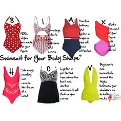 What shapes and details to look for in a swimsuit to flatter your body shape and enhance your body so you feel confident and look great