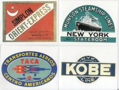 TRAINS SHIPS PLANES 20 Retro Luggage Labels by cafeamericaine Simplon Orient Express, Old Luggage, American Line, Flying Scotsman, Air India, Luggage Labels, Bell Tent, Kobe, Golden Age