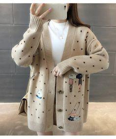 Women Autumn Winter Korean V-Neck Knit Outerwear Cartoon Embroidery Loose Cardigans Casual Long Sleeve Sweater Coat Korean Fashion Dress, Ulzzang Fashion, Fall Fashion Outfits, Korea Fashion, Japan Fashion, India Fashion, Autumn Fashion, How To Wear Cardigan, Cardigan Outfits