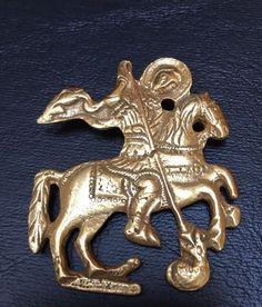 Brooch/Pin Warrior Horse battle Marked Alva Museum Replica Gold Tone #AlvaMuseumReplicas