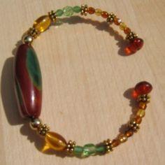 Green Stone Memory Wire Bracelet