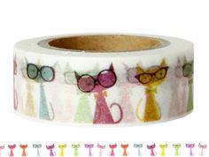 Masking Tape - Washi Tape KATZEN mit BRILLE - ein Designerstück von Fitzi-Floet bei DaWanda