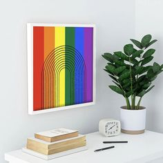 #rainbow #loveislove #pride #rainbow #abstract #art #modern #contemporary #wallart #framedwallart #prints #colorfulhomedecor @denydesigns