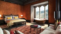 The best claw-foot bathtub in all of Bhutan at Gangtey Goenpa Lodge. Waiting Room Decor, Adobe, Hotel Architecture, Indian Home Decor, Master Bedroom Design, Bhutan, Traditional House, Resorts, New Homes