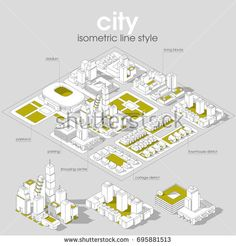 3d vector Isometric info graphic city streets with different buildings, houses, shops and skyscrapers. Line style.