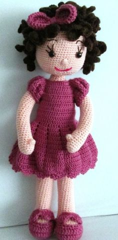 This Pin was discovered by Люб Crochet Doll Pattern, Crochet Dolls, Crochet Baby, Knit Crochet, Crochet Patterns, String Crafts, Crochet Squares, Soft Dolls, Baby Knitting Patterns