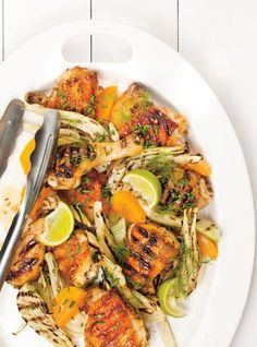 Photo Poulet grillé au fenouil et aux abricots