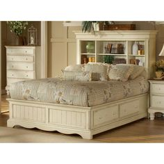 **I like this the best - has bookcase shelves for headboard and under the bed storage** Wilshire Antique White King Bookcase Bed With Storage Hillsdale Furniture King Standard Be