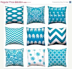 Nine great teal decorative throw pillow covers! Mix and match to create your own designer combo. Traditional damask, chic chevron, whimsical