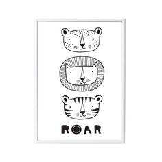 """Kinderposter """"Roar"""" mit Tiger und Löwe, 50 x 70 cm, von A Little Lovely Company"""