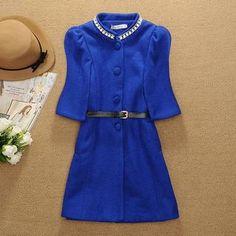 Ringnor - 3/4-Sleeve Jeweled-Neckline Coat