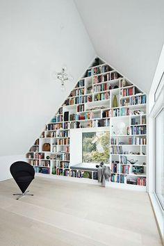 Impressive Home Library Design Ideas Home Library Design, Attic Design, House Design, Modern Library, Modern Bookshelf, Bookshelves, Bookcase Wall, Wall Shelves, Interior Architecture
