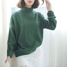 Однотонный свитер с высоким горлом (8 расцветок) :: Op Shop!