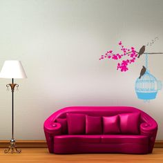 Weird couch, but cool bird decal! D-115_Birds