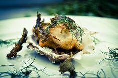 Tempura d-rsquohuîtres - chips d-rsquoalgues Tempura, Chips, Pork, Vegetables, Baked Potato, Brittany, Recipes, Kitchens, Oysters