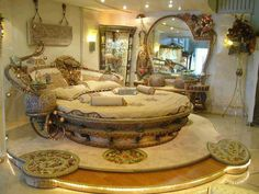 Don't know what this style is, kind of beachy mermaid shabby chic feminine pirate floral holiday round romantic bed room.