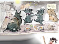 Scottie party! Pretty sure Biscotti does this while I'm gone.