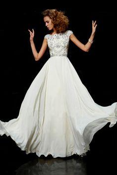 Flamboyant A Line High Scoop Neck Floor Length Ivory Chiffon Beading Dress