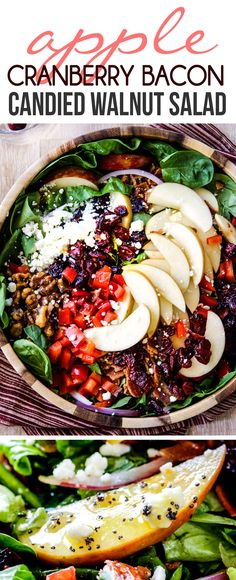 Apple Cranberry Bacon Candied Walnut Salad with Apple Poppy Seed Vinaigrette belongs on your table this Thanksgiving and all Autumn long! so addictively delicious and the dressing is amazing! via Apple Cranberry Bacon Candied Walnut Salad with Apple Poppy Candied Walnuts For Salad, Candied Bacon, Side Dish Recipes, Dinner Recipes, Side Dishes, Apple Walnut Salad, Cranberry Walnut Salad, Apple Salad Recipes, Salad Recipes With Bacon