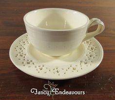 Hartley Greens Leeds Pottery England Creamware Pierced Cup & Saucer #HartleyGreens