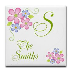 Pretty Flowers~ Custom Name Tile Coaster  Customize this pretty floral design with inital and name  $5.19