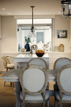 A very casual combined dining / kitchen space.