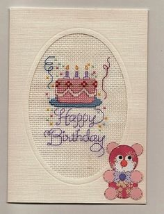Cross Stitch Childs OOAK White Keepsake Happy Birthday Cake Card Finished Completed