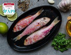 Τετάρτη: ημέρα ψαριού και τι καλύτερο απο φρέσκο κουτσομουράκι Ελλάδας? Βρείτε το σήμερα μόνο στα ΑΒ.  #abfishday Grill Pan, Sausage, Grilling, Meat, Food, Griddle Pan, Crickets, Sausages, Meals