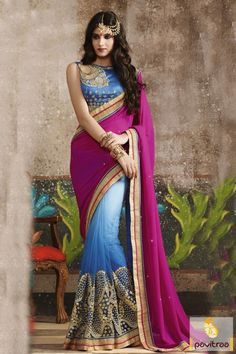 Get reflected appearance with this #aqua blue #pink net bridal saree with designer blouse. This heavy worked designer bridal saree designed with heavy embroidery design. #saree, #partywearsaree, #weddingsaree, #sari, #indianweddingsaree, #designersaree, #sareewithblouse, #sarees, #Indiansaree, #receptionsaree, #sareesonlineshopping, #fashionsaree, #latestsaree, #designercollection More:  http://www.pavitraa.in/store/party-wear-saree/ Any Query: Call Us:+91-7698234040 E-mail…