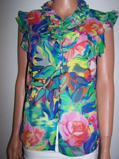 St John Couture Size 10 Multi Color Silk Blend  Floral Blouse Flutter Sleeves #StJohnsCouture #ButtonDownShirt #Casual