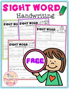 Free Sight Word Handwriting has 6 pages of handwriting worksheets. This product is perfect for preschool to third graders.  This resource helps children to learn sight words by writing sentences. This is perfect for classroom activities, morning work, word work and literacy centers. Preschool | Kindergarten| First Grade | Second Grade | Third Grade |Sight Word Handwriting | Sight Word Handwriting Bundle | Sight Word Worksheets | Homework | Morning Work
