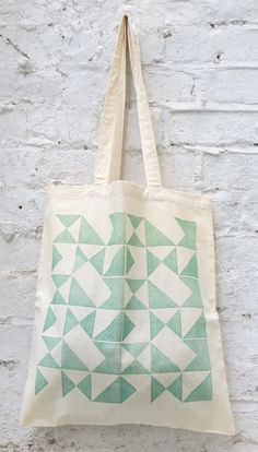 Tote bag 'Signals' emerald green cotton tote bag by Patternalism, £10.00