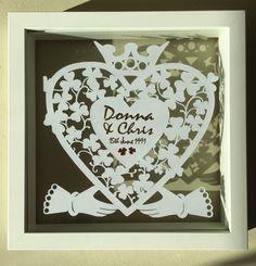 Personalised Papercut for Valentine's, Irish Wedding,Weddings, Marriage, Anniversaries, special occasions. Irish Wedding, Paper Cutting, Special Occasion, Marriage, Valentines, Weddings, Unique Jewelry, Frame, Handmade Gifts