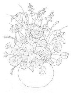 Dibujos para colorear de Ramos de flores, Plantillas para colorear ...
